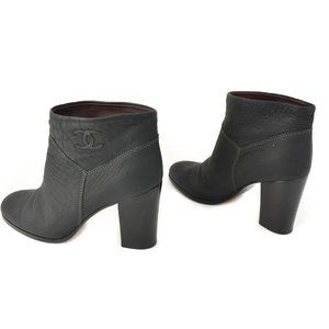 """CHANEL: Charcoal Gray, Leather & """"CC"""" Logo Ankle Boots"""